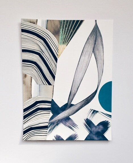 Palm blue (mixed media on paper) by Eva Magill-Oliver