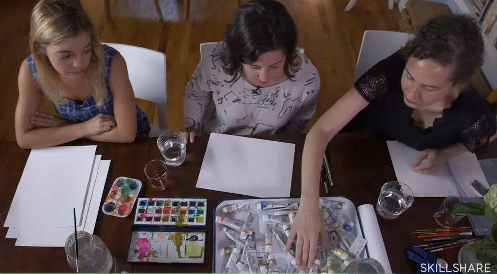 Drawing can be a fun activity to do with friends.
