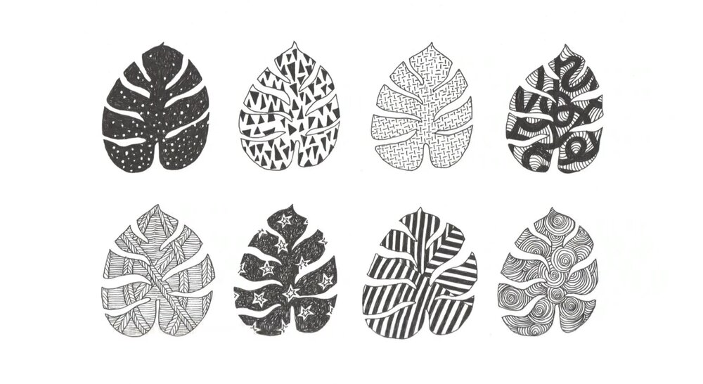Practice drawing patterns inside a simple shape.