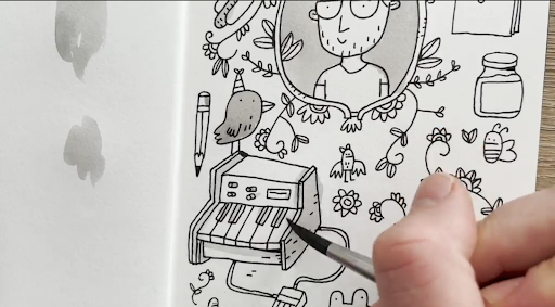 Fill that dreaded blank page with some doodles about yourself.
