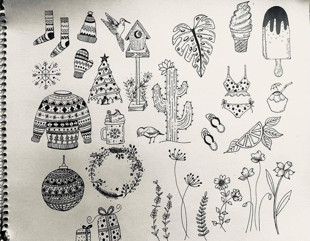 Student Shweta Pathak's doodle library