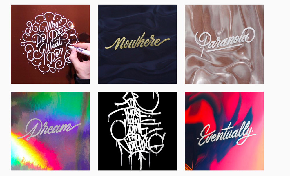 Examples of monoline lettering from Ricardo Gonzalez's Instagram account, @itsaliving.