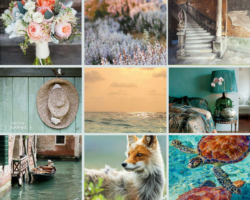 Peach, copper, and muted blue show up again and again in this collection.