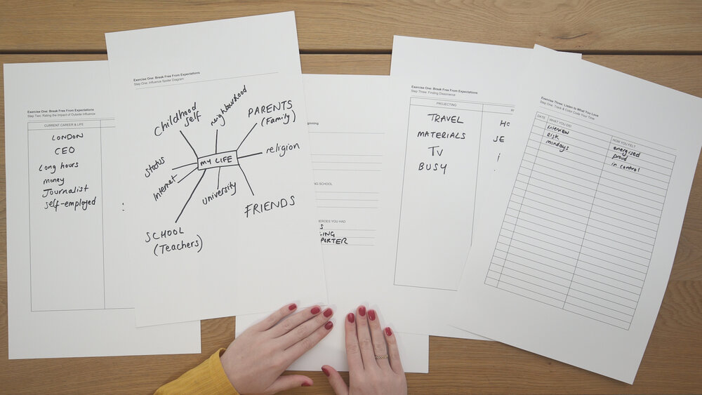 Worksheets from the Skillshare Original 7 Exercises to Uncover Your Purpose, Passion & Path.