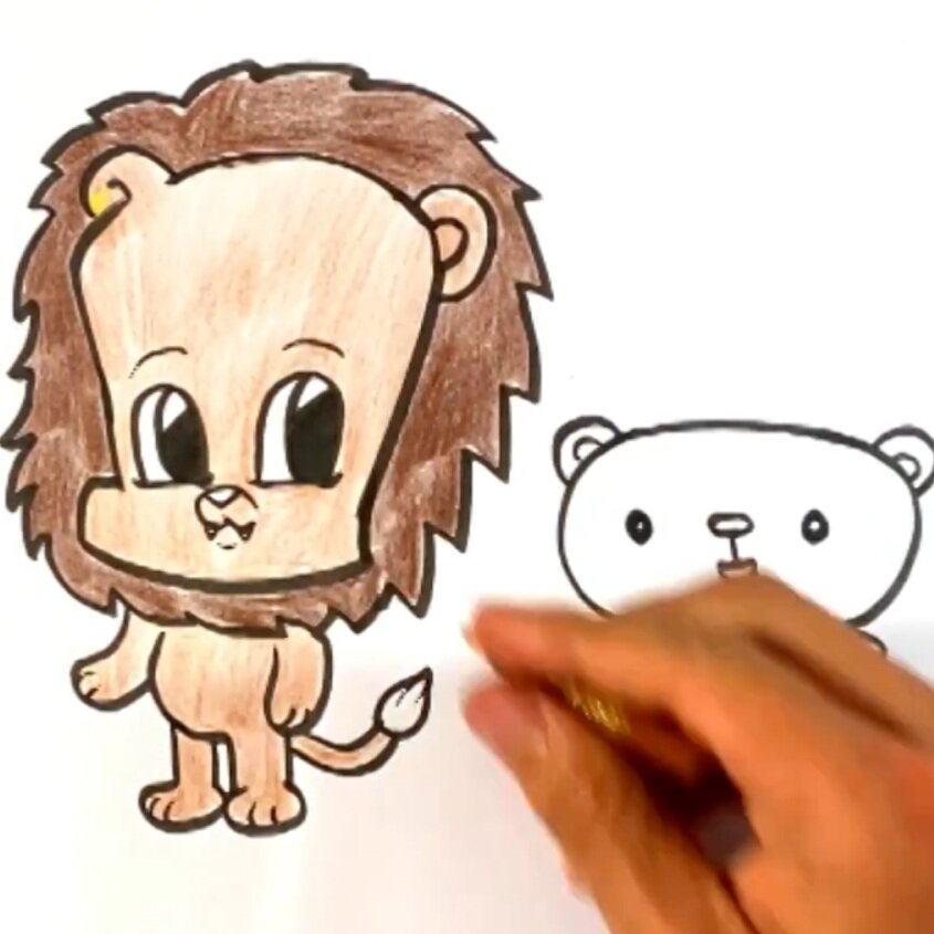 lion and bear drawing