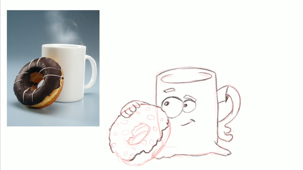 coffee and donut drawing
