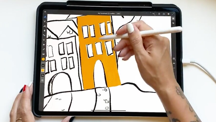 Fill in your sketch with color.