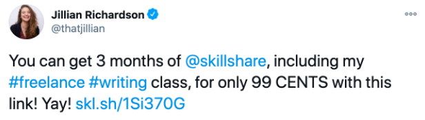 A tweet posted by Jillian Richardson about her Skillshare class.