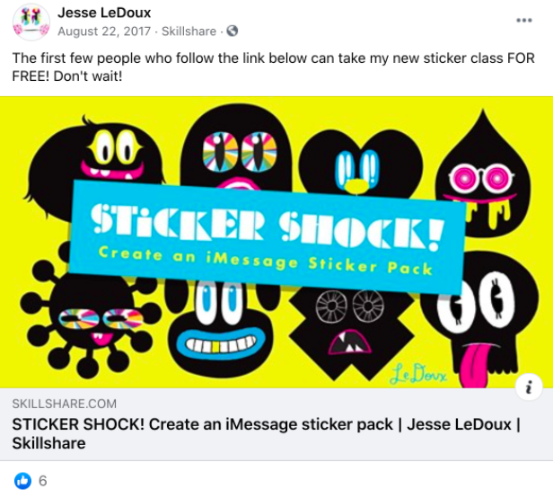 A Facebook post from Jesse LeDoux's Facebook page about his Skillshare class.