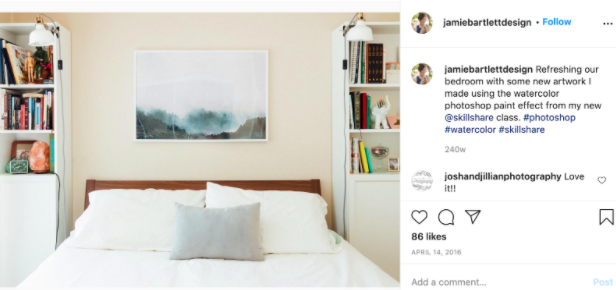 A picture on Jamie Bartlett's Instagram showing how she displays her work at home.