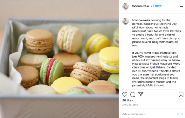 A photo of macarons from Marie Asselin's Instagram account.