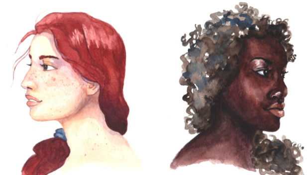 Skillshare instructor Melissa Lee showcases contrasting skin tones created with watercolor paints.