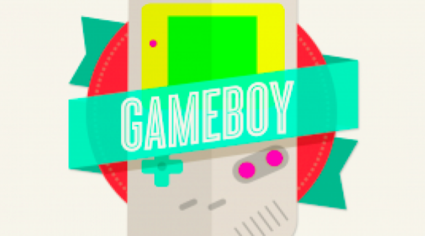 This badge, created by Skillshare student Maia Then, depends heavily on geometric shapes, from the circle behind the Gameboy to the squares of the video game's console and screen.