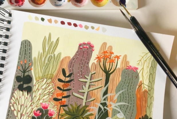 Skillshare student Nele Ooms used muted tones of gouache paint to create this cactus- and desert-inspired painting.
