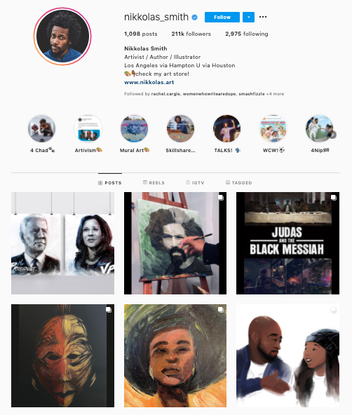 Nikkolas Smith's Instagram feed shows his passion for activism through art.
