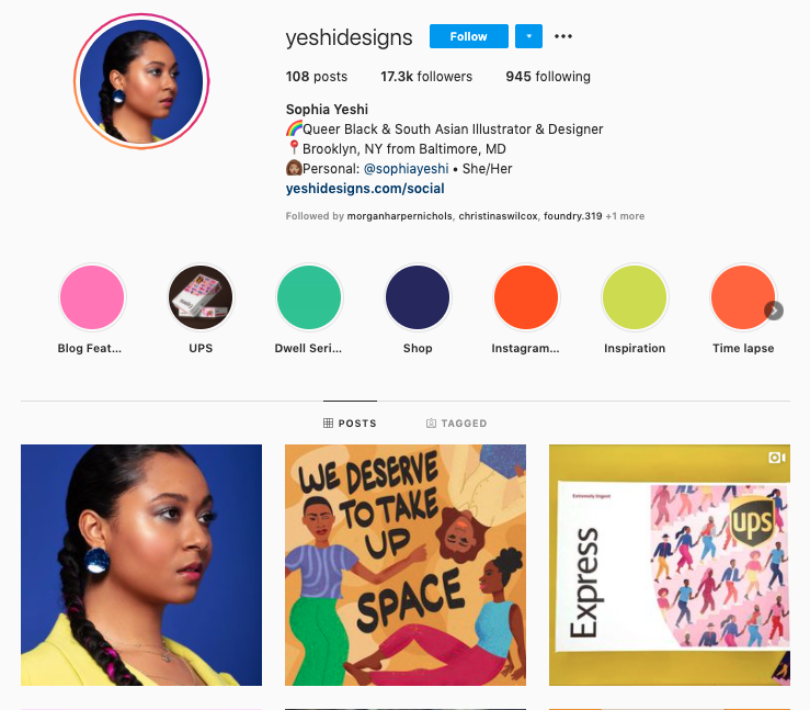 Sophia Yeshi's Instagram account balances whimsical colors and bold ideas.