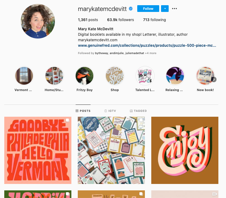 Mary Kate McDevitt's Instagram account is the perfect choice for people who want to admire or learn about hand lettering.