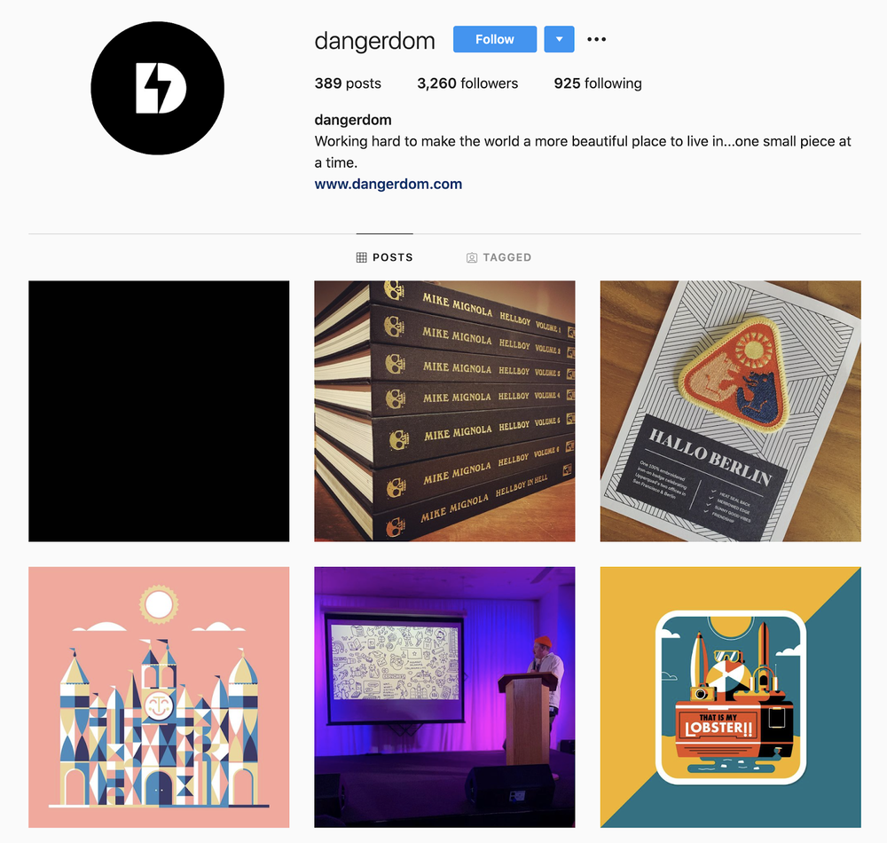 Dominic Flask's Instagram account captures his bold and crisp design style.