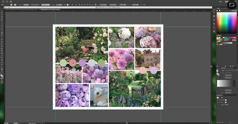 Digital tools like Adobe Illustrator are perfect for combining your visual elements into a unified mood board.