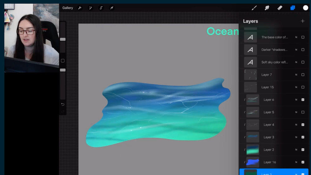Use a smaller brush/paint tool to add shadows and highlights to the surface of the water.