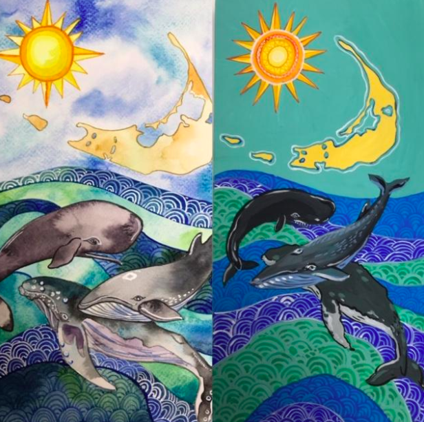 On the left, you can see the more transparent properties of watercolor paint, while the painting on the right showcases the bold, flat wash of gouache paint.