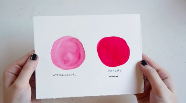Even when thinned out with water, gouache offers a bold, flat wash of color, while watercolors are more transparent and light.