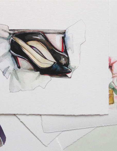 In this composition, Skillshare instructor Katie Rodgers demonstrates how to create the texture of patent leather with watercolors.
