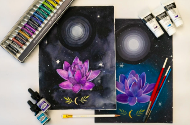 In this image, you can see the same composition created with watercolors (on the left) and gouache (on the right).