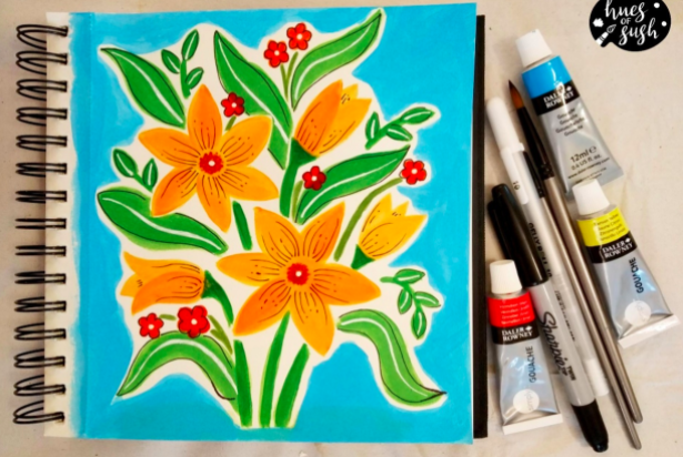 Gouache paint can be used to create large, flat, opaque washes of color—like the background and flowers in this piece of gouache art.