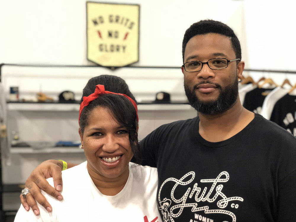 """Skillshare students and Husband-and-Wife team Reuben and Toya Levi traveled from Houston, TX to represent their brand,  Grits, Co.  at the Agenda Show. In just a few years, they've built a loyal group of fans –including musician Leon Bridges! – with their """"No Grits, No Glory"""" tagline, and their brand's signature vintage look."""