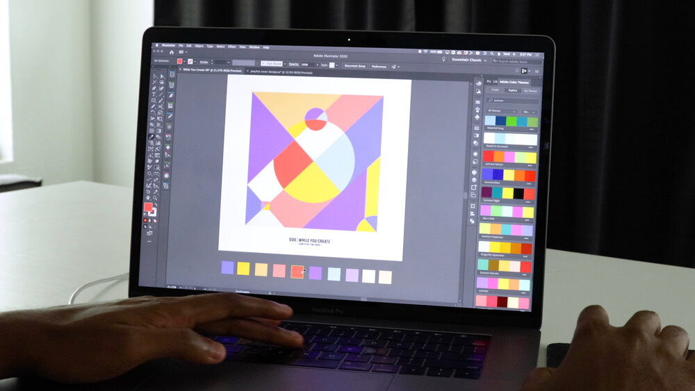 Temi uses tools in Adobe Illustrator to explore different color themes for his album cover.