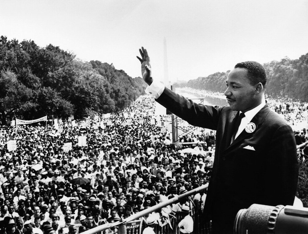 """Martin Luther King Jr. on the steps of the Lincoln Memorial where he delivered his famous, """"I Have a Dream,"""" speech during the Aug. 28, 1963, March on Washington, D.C."""