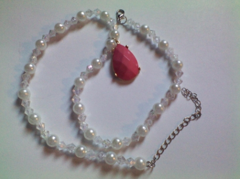 Pearls and Aurora Beaded Necklace with Pink Teardrop