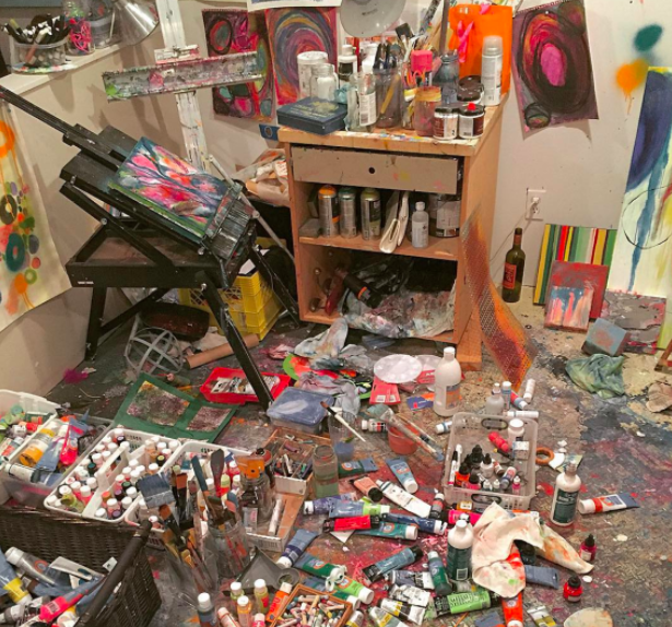 Artist Keely Sorette says she comes up with her best pieces and ideas when her studio looks like this.