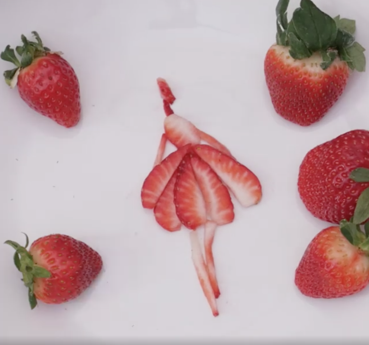 Rodgers' finished strawberry art.