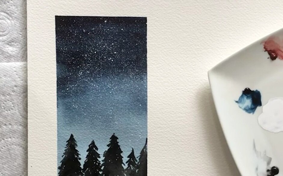 The splatter effect can be used to depict a starry night sky.
