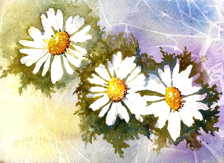 The background of this daisy painting was created using the plastic wrap technique.