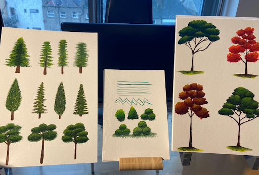 Photo of student work by Mariela López Jiménez for   Let's Paint Trees - Acrylic Painting for Beginners  .