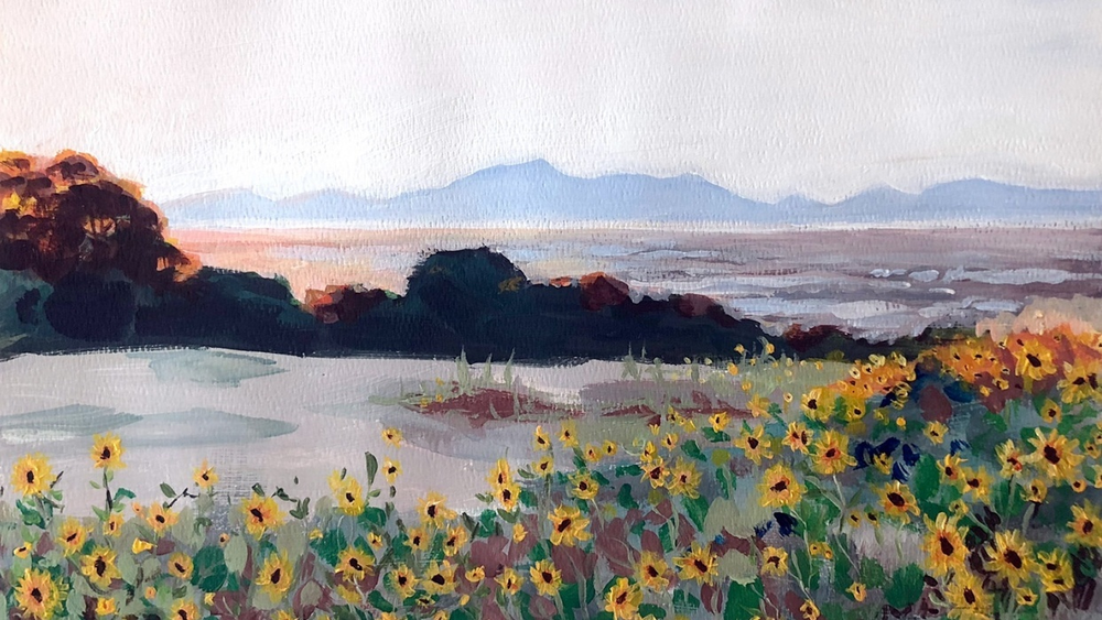 Student work by Leah Donaldson for   Acrylic Painting: How to Paint a Landscape  .
