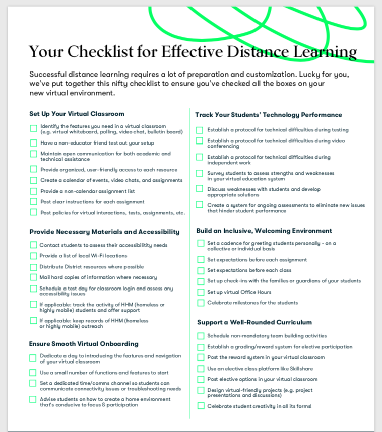 Free Distance Learning Checklist - Build and optimize your virtual classroom with this printable checklist.