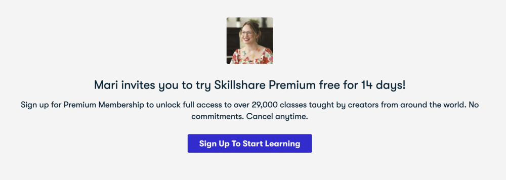 An example of what students will see when accessing Skillshare via a teacher referral link