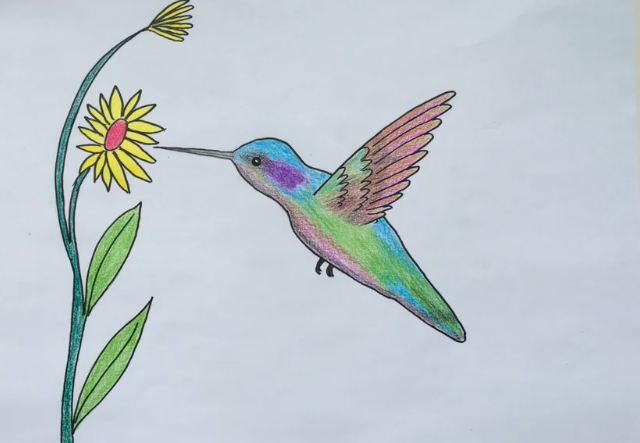 Colorful hummingbirds are perfect for crayon art.