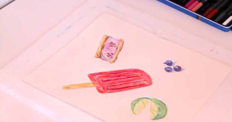 Crayons are great for drawing fun, colorful foods.