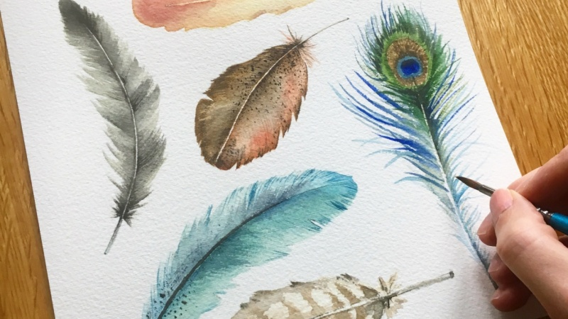 Sharone shares her process on how to paint feathers using watercolours