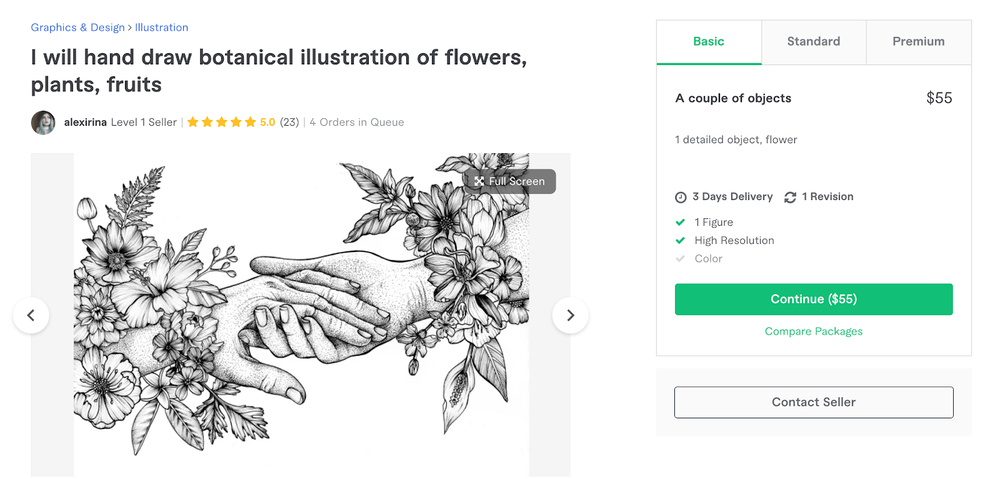 Here's an example of a Fiverr seller account.