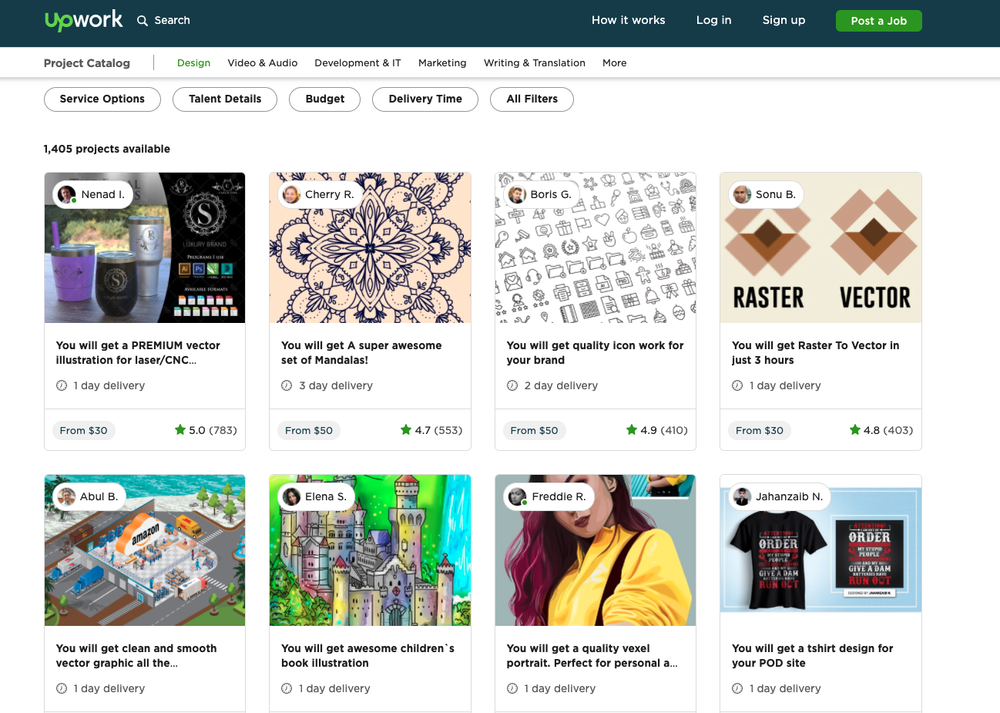 There are currently over 1,400 illustration projects available for hire on Upwork.