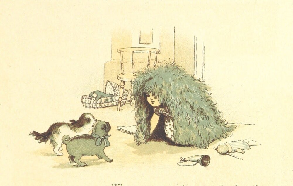 """A children's book illustration from """"Round the Hearth [and other verses]"""""""