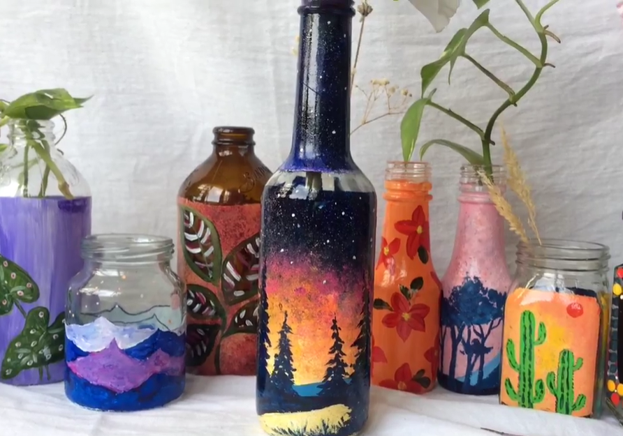 Glass painted jars and bottles created by Skillshare instructor Panchami Shetty.
