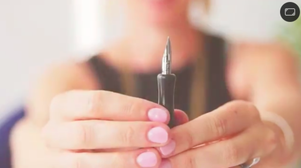 Skillshare instructor Bryn Chernoff showcases the nib on her calligraphy pen.