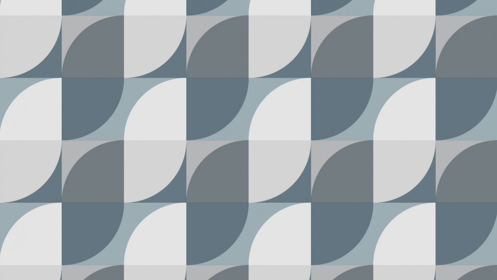 The basic components of this design are quarter circles within rectangles and squares, repeated.